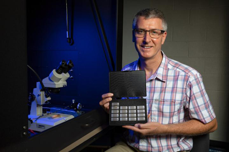«پائول تیبادو » استاد فیزیک، تراشههای حامل انرژی پروتوتایپ را در اختیار دارد.